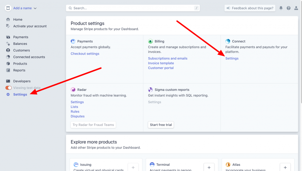 Stripe connect settings